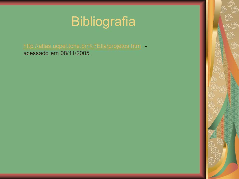 Bibliografia http://atlas.ucpel.tche.br/%7Ella/projetos.htmhttp://atlas.ucpel.tche.br/%7Ella/projetos.htm - acessado em 08/11/2005.