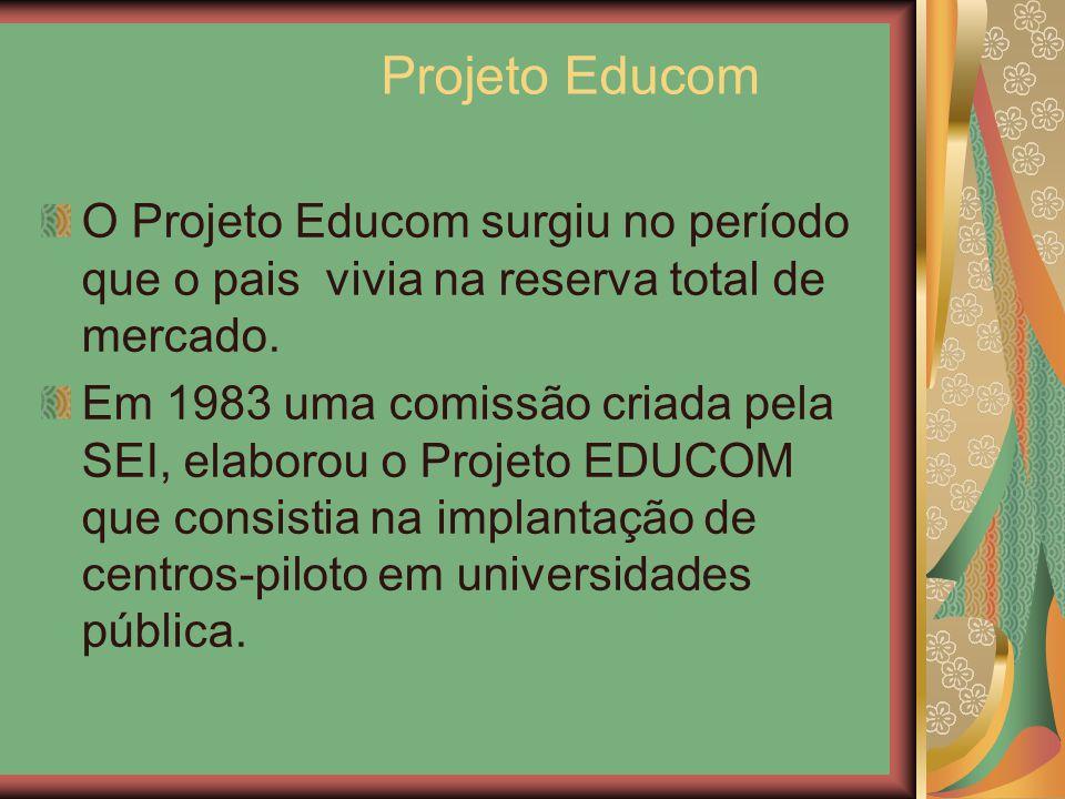 Projeto Educom O Projeto Educom surgiu no período que o pais vivia na reserva total de mercado. Em 1983 uma comissão criada pela SEI, elaborou o Proje