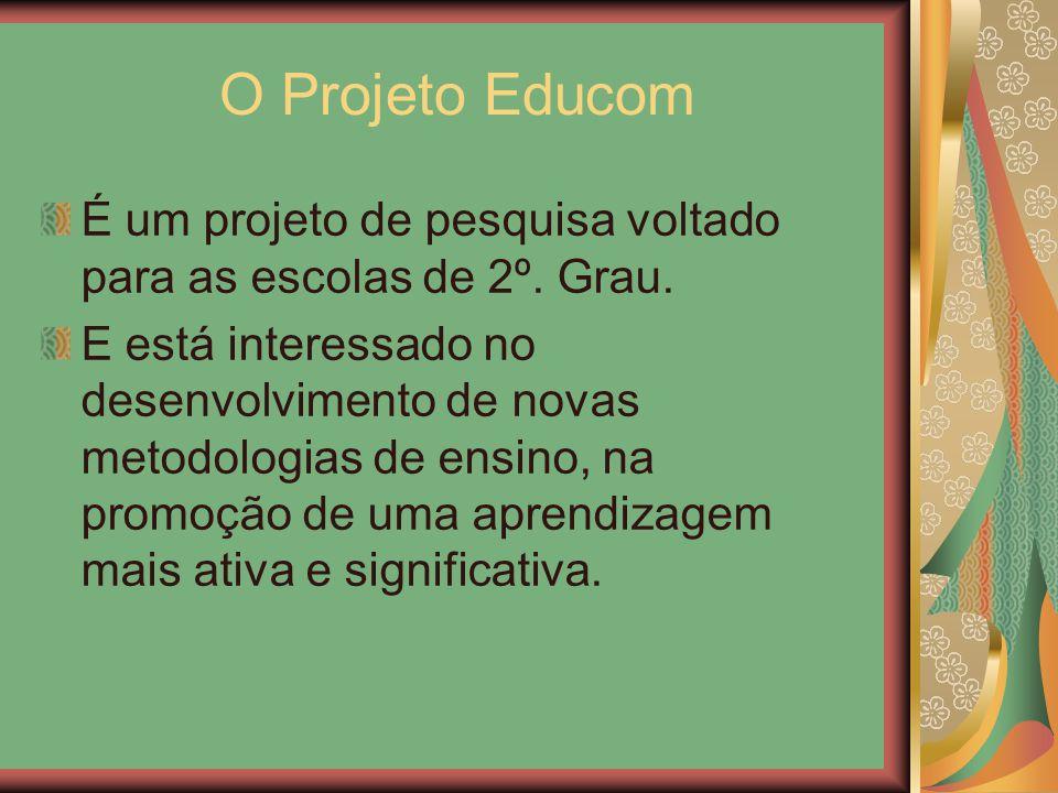 O Projeto Educom É um projeto de pesquisa voltado para as escolas de 2º. Grau. E está interessado no desenvolvimento de novas metodologias de ensino,