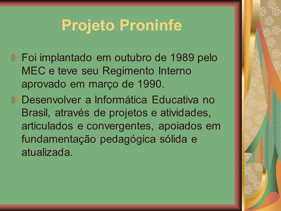 Projeto Proninfe Foi implantado em outubro de 1989 pelo MEC e teve seu Regimento Interno aprovado em março de 1990. Desenvolver a Informática Educativ