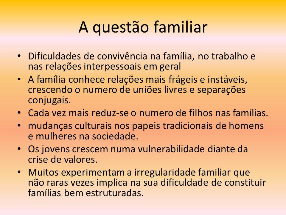 A questão familiar Dificuldades de convivência na família, no trabalho e nas relações interpessoais em geral A família conhece relações mais frágeis e
