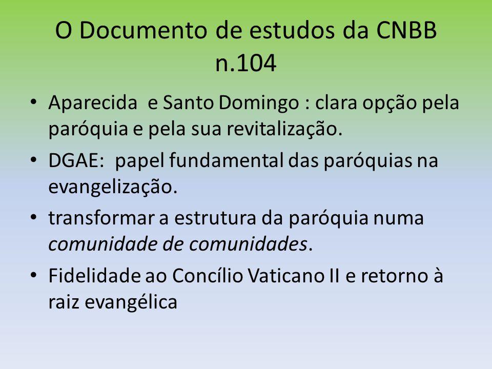 O Documento de estudos da CNBB n.104 Aparecida e Santo Domingo : clara opção pela paróquia e pela sua revitalização. DGAE: papel fundamental das paróq