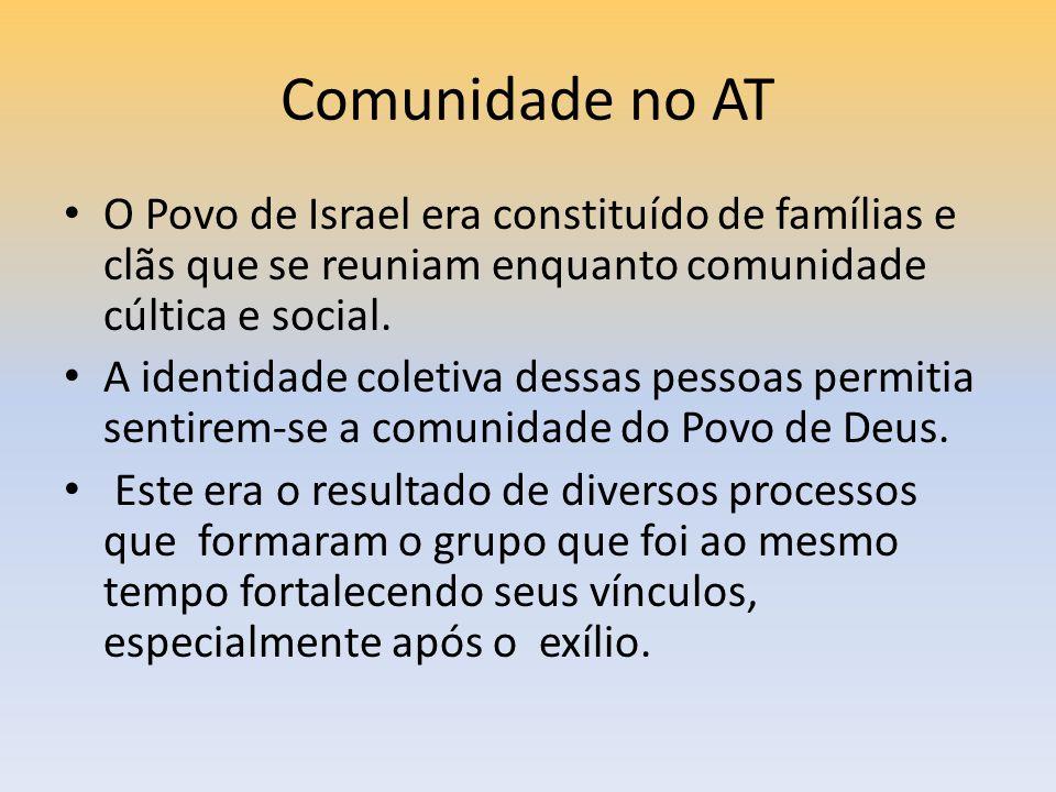 Comunidade no AT O Povo de Israel era constituído de famílias e clãs que se reuniam enquanto comunidade cúltica e social. A identidade coletiva dessas