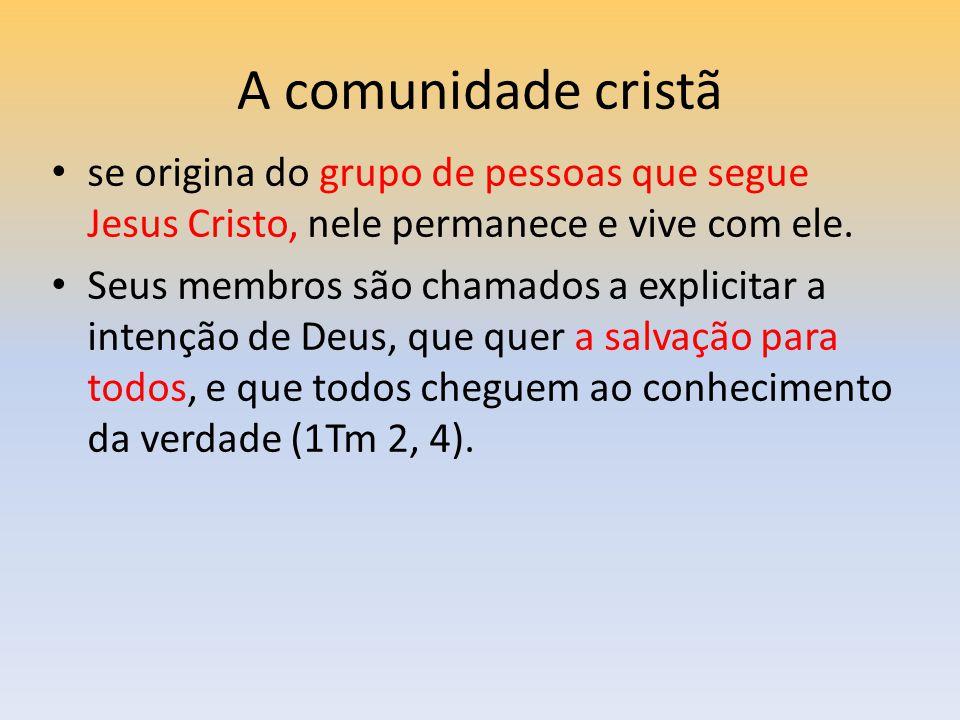 A comunidade cristã se origina do grupo de pessoas que segue Jesus Cristo, nele permanece e vive com ele. Seus membros são chamados a explicitar a int