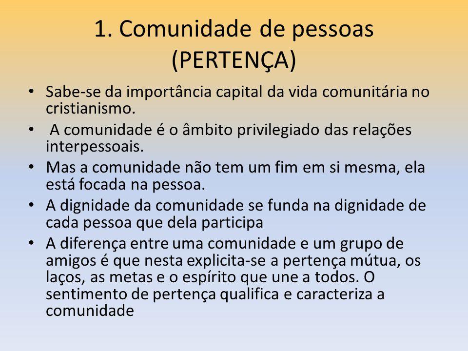 1. Comunidade de pessoas (PERTENÇA) Sabe-se da importância capital da vida comunitária no cristianismo. A comunidade é o âmbito privilegiado das relaç