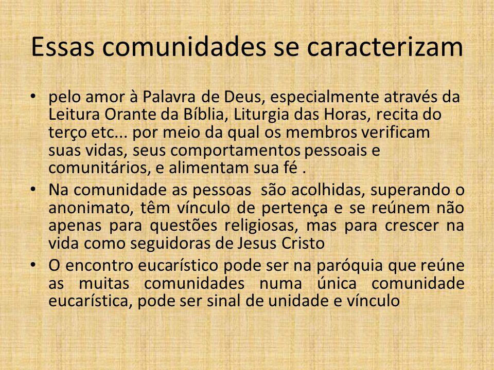 Essas comunidades se caracterizam pelo amor à Palavra de Deus, especialmente através da Leitura Orante da Bíblia, Liturgia das Horas, recita do terço
