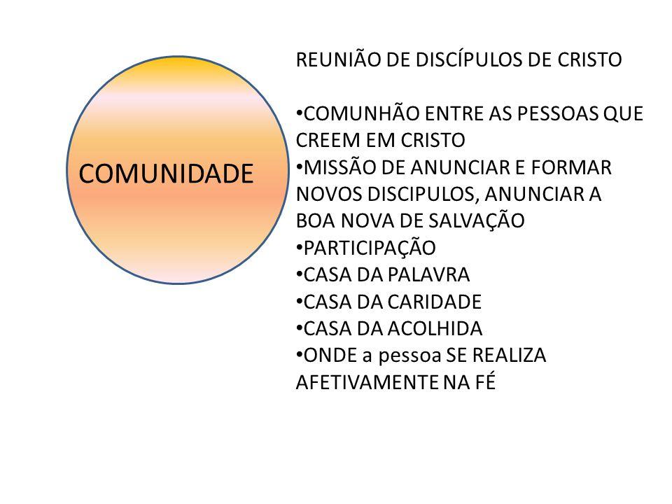COMUNIDADE REUNIÃO DE DISCÍPULOS DE CRISTO COMUNHÃO ENTRE AS PESSOAS QUE CREEM EM CRISTO MISSÃO DE ANUNCIAR E FORMAR NOVOS DISCIPULOS, ANUNCIAR A BOA