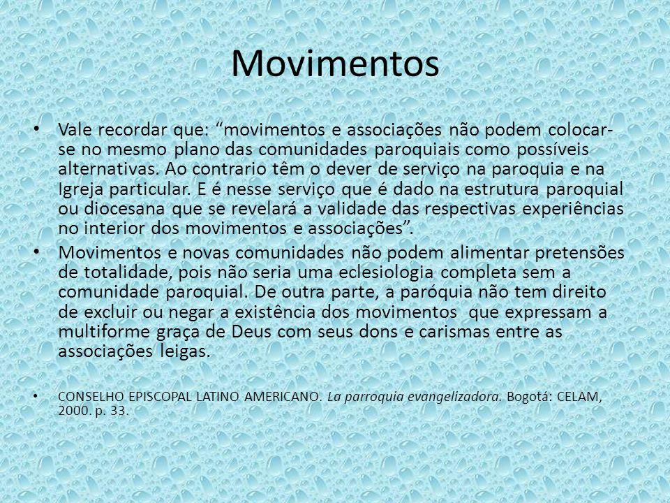 Movimentos Vale recordar que: movimentos e associações não podem colocar- se no mesmo plano das comunidades paroquiais como possíveis alternativas. Ao