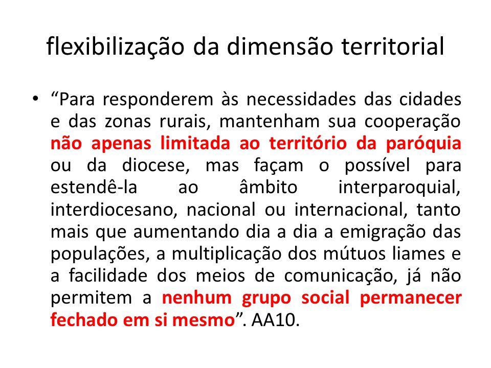flexibilização da dimensão territorial Para responderem às necessidades das cidades e das zonas rurais, mantenham sua cooperação não apenas limitada a
