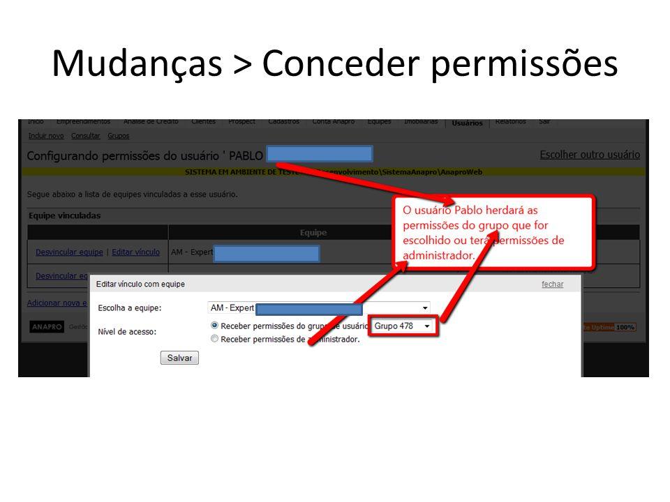 Mudanças > Conceder permissões