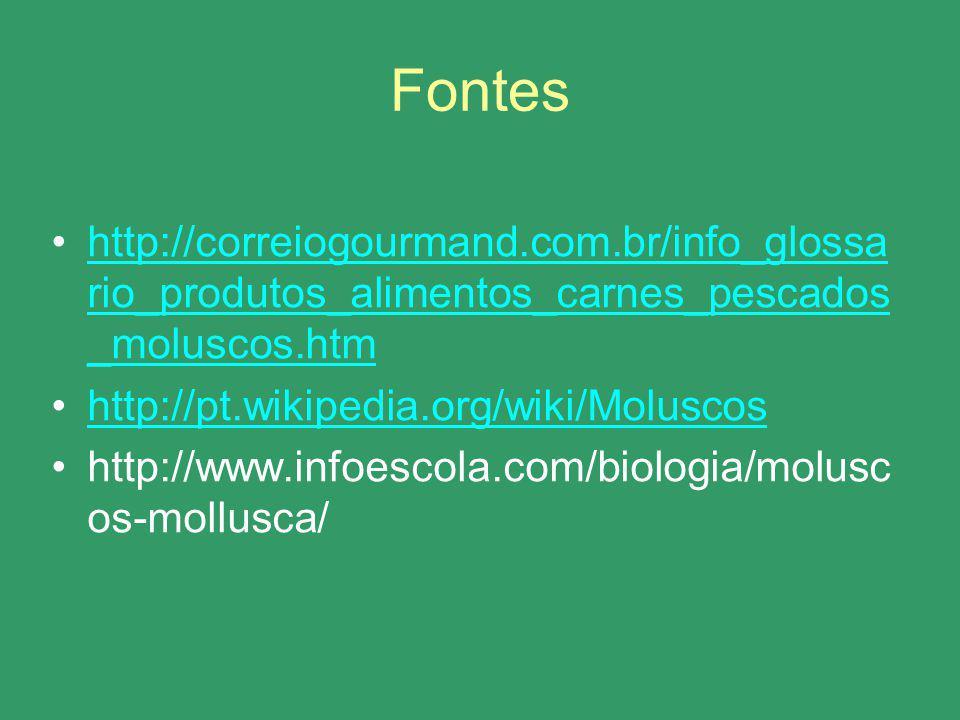 Fontes http://correiogourmand.com.br/info_glossa rio_produtos_alimentos_carnes_pescados _moluscos.htmhttp://correiogourmand.com.br/info_glossa rio_pro