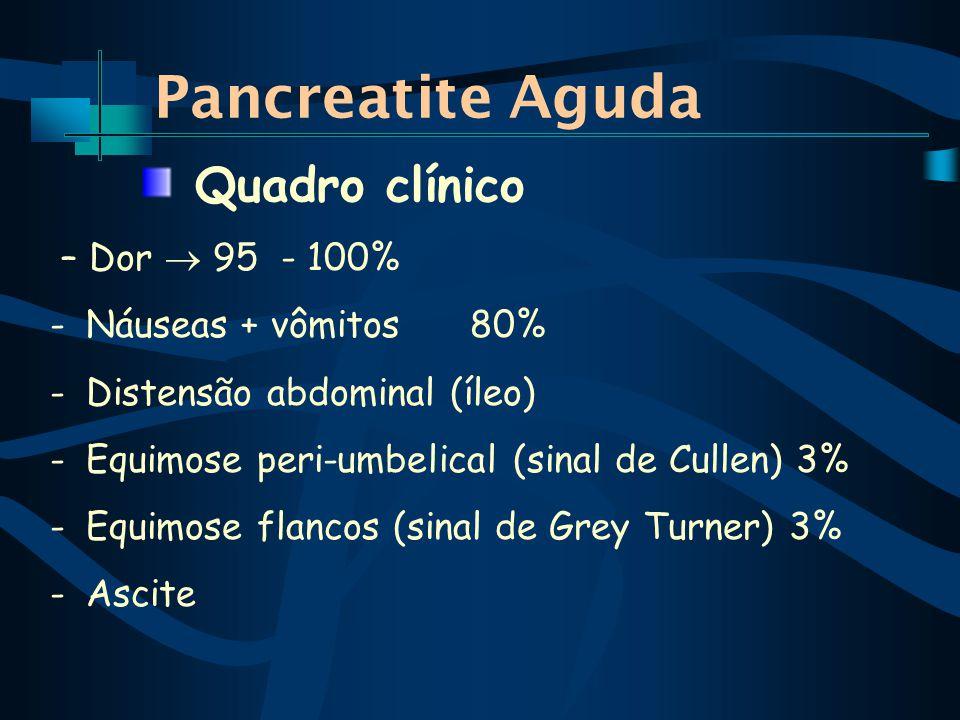 Pancreatite Aguda – Dor 95 - 100% -Náuseas + vômitos 80% -Distensão abdominal (íleo) -Equimose peri-umbelical (sinal de Cullen) 3% -Equimose flancos (sinal de Grey Turner) 3% -Ascite Quadro clínico