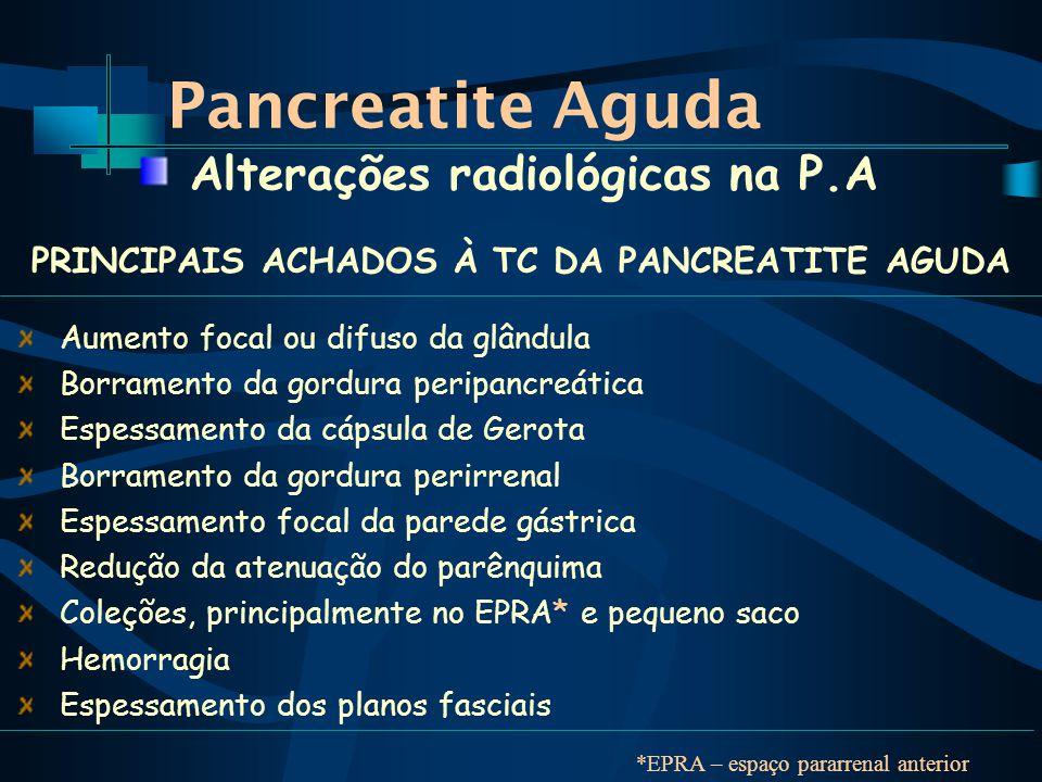 Pancreatite Aguda Aumento focal ou difuso da glândula Borramento da gordura peripancreática Espessamento da cápsula de Gerota Borramento da gordura perirrenal Espessamento focal da parede gástrica Redução da atenuação do parênquima Coleções, principalmente no EPRA* e pequeno saco Hemorragia Espessamento dos planos fasciais Alterações radiológicas na P.A PRINCIPAIS ACHADOS À TC DA PANCREATITE AGUDA *EPRA – espaço pararrenal anterior