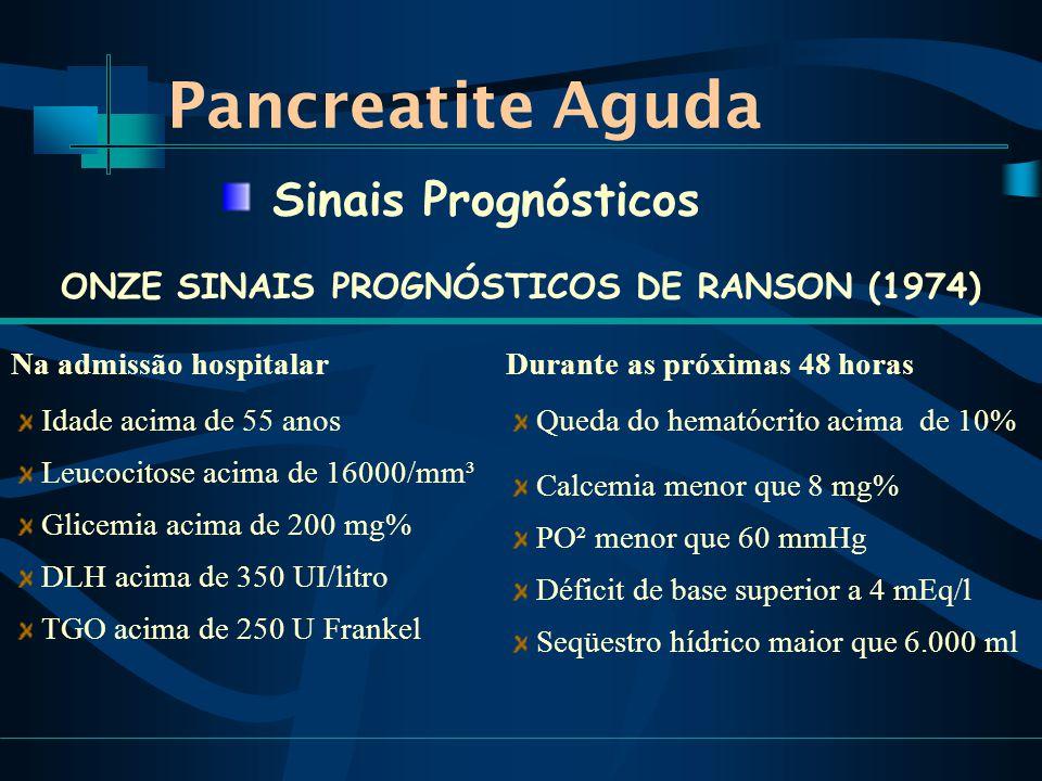 Pancreatite Aguda ONZE SINAIS PROGNÓSTICOS DE RANSON (1974) Sinais Prognósticos Na admissão hospitalar Idade acima de 55 anos Leucocitose acima de 16000/mm³ Glicemia acima de 200 mg% DLH acima de 350 UI/litro TGO acima de 250 U Frankel Durante as próximas 48 horas Queda do hematócrito acima de 10% Calcemia menor que 8 mg% PO² menor que 60 mmHg Déficit de base superior a 4 mEq/l Seqüestro hídrico maior que 6.000 ml