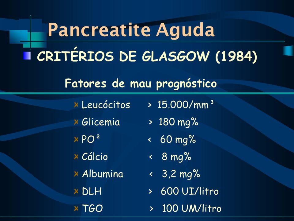 Pancreatite Aguda Fatores de mau prognóstico Leucócitos > 15.000/mm³ Glicemia > 180 mg% PO² < 60 mg% Cálcio < 8 mg% Albumina < 3,2 mg% DLH > 600 UI/litro TGO > 100 UM/litro CRITÉRIOS DE GLASGOW (1984)