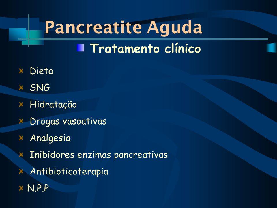 Pancreatite Aguda Dieta SNG Hidratação Drogas vasoativas Analgesia Inibidores enzimas pancreativas Antibioticoterapia N.P.P Tratamento clínico