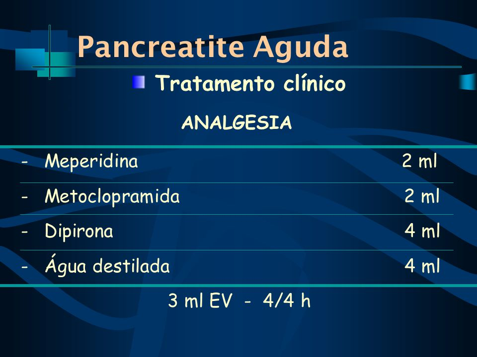 Pancreatite Aguda ANALGESIA - Meperidina 2 ml - Metoclopramida 2 ml - Dipirona 4 ml - Água destilada 4 ml 3 ml EV - 4/4 h Tratamento clínico