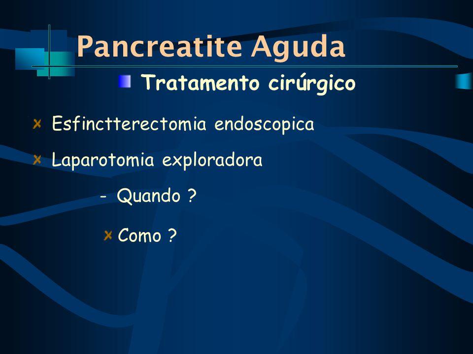 Pancreatite Aguda Esfinctterectomia endoscopica Laparotomia exploradora - Quando .