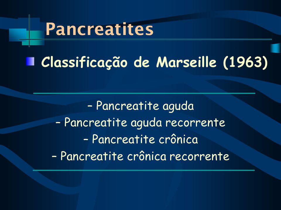Pancreatites – Pancreatite aguda – Pancreatite aguda recorrente – Pancreatite crônica – Pancreatite crônica recorrente Classificação de Marseille (1963)