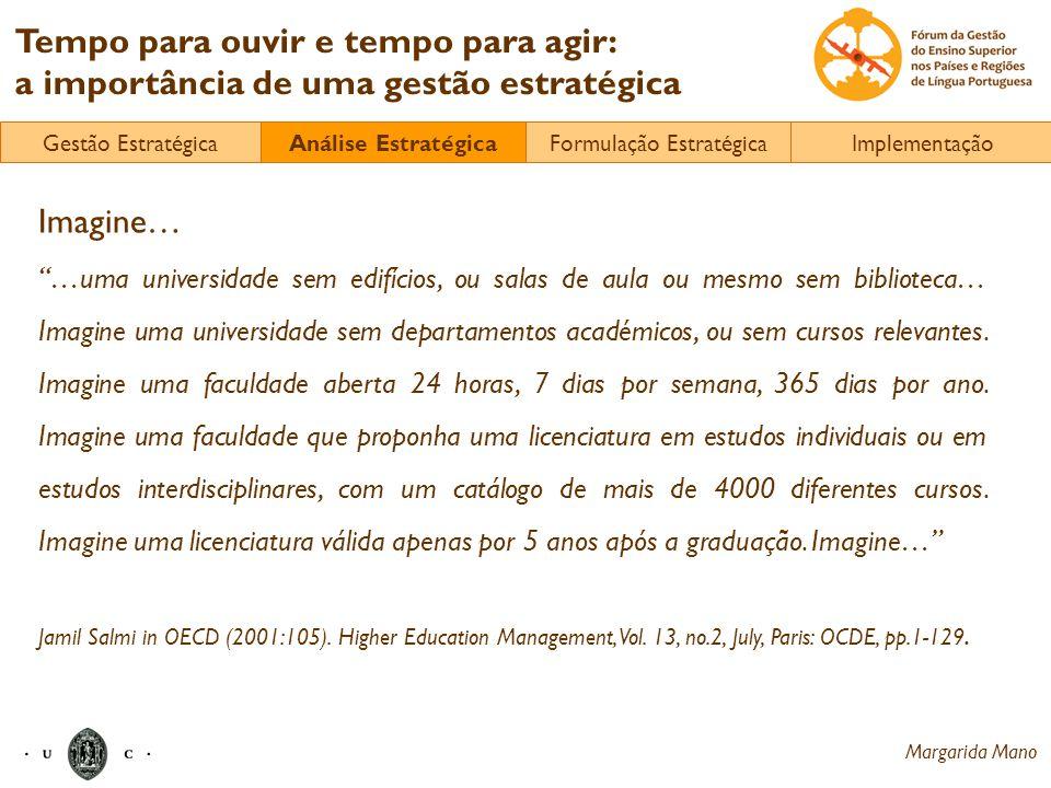 Margarida Mano Tempo para ouvir e tempo para agir: a importância de uma gestão estratégica Imagine… …uma universidade sem edifícios, ou salas de aula