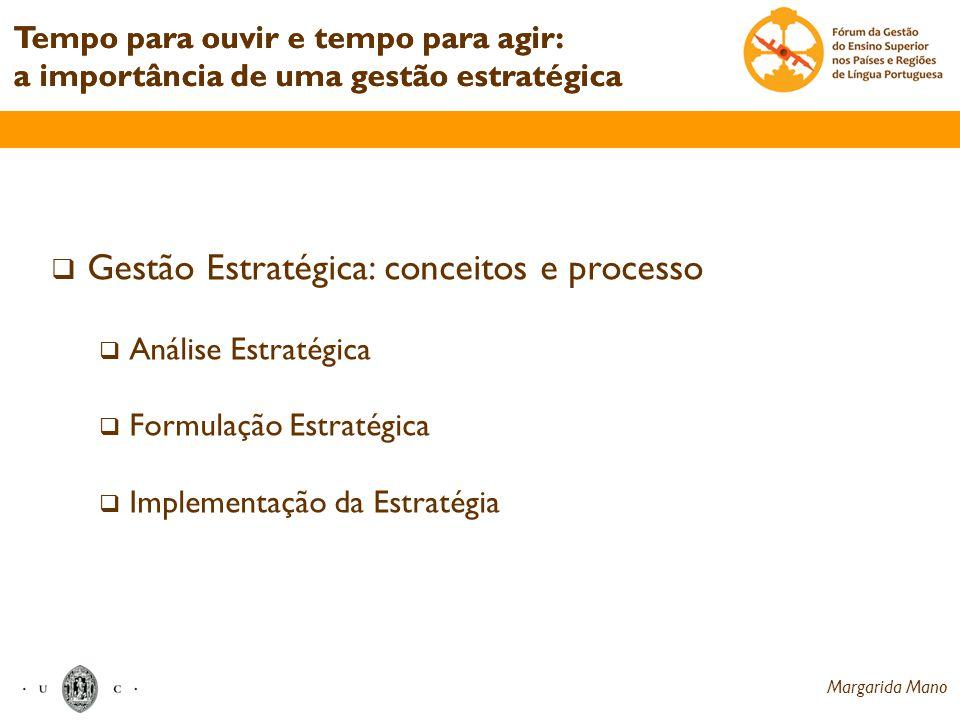 Tempo para ouvir e tempo para agir: a importância de uma gestão estratégica Gestão Estratégica: conceitos e processo Análise Estratégica Formulação Es
