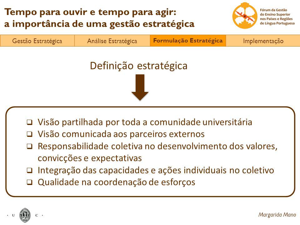 Margarida Mano Tempo para ouvir e tempo para agir: a importância de uma gestão estratégica Visão partilhada por toda a comunidade universitária Visão