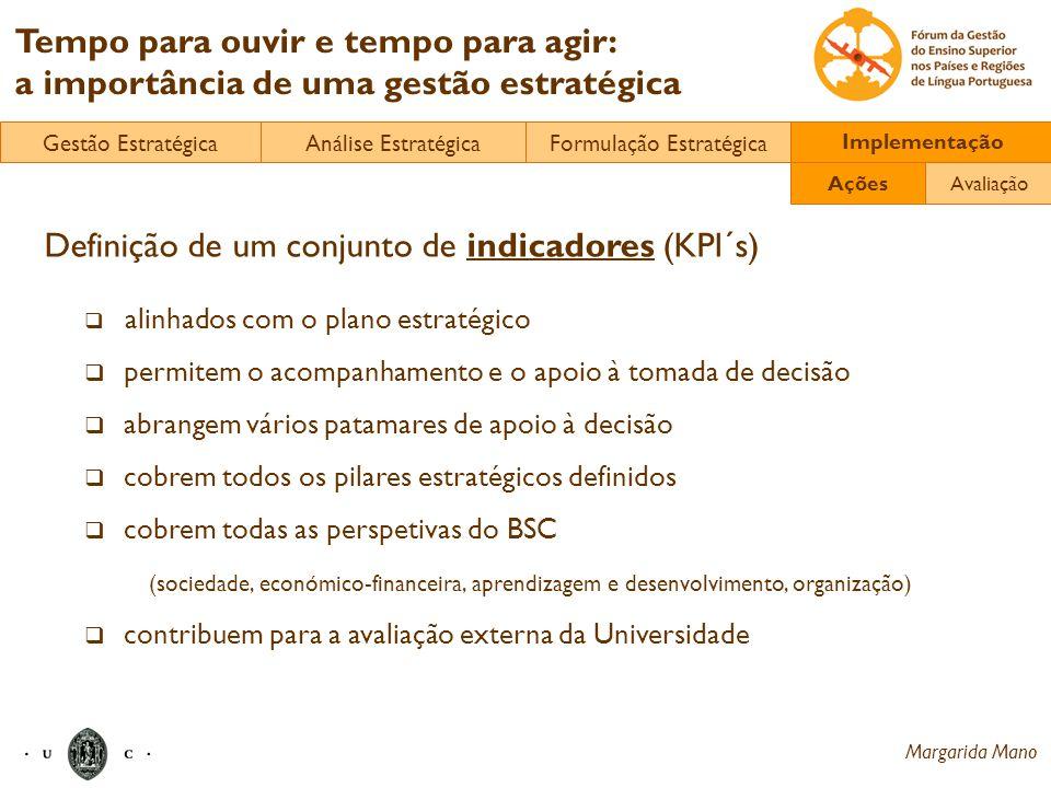 Margarida Mano Tempo para ouvir e tempo para agir: a importância de uma gestão estratégica Definição de um conjunto de indicadores (KPI´s) alinhados c
