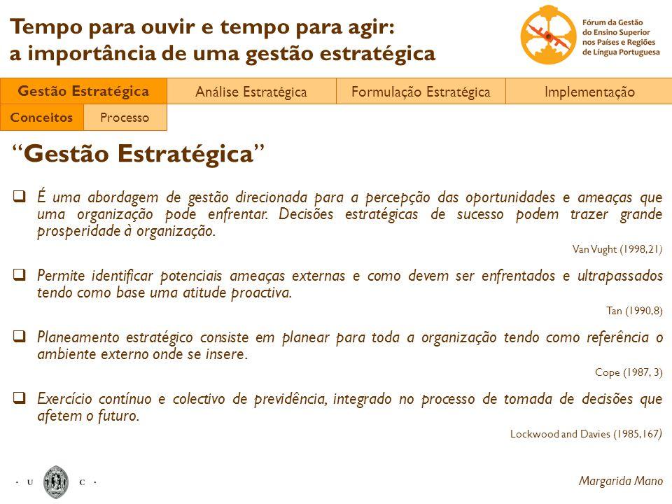Margarida Mano Tempo para ouvir e tempo para agir: a importância de uma gestão estratégica Gestão Estratégica É uma abordagem de gestão direcionada pa