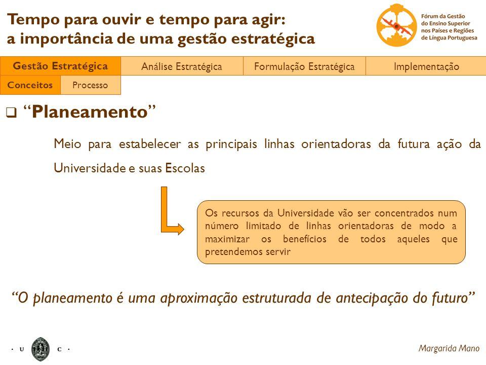 Margarida Mano Tempo para ouvir e tempo para agir: a importância de uma gestão estratégica Planeamento Meio para estabelecer as principais linhas orie