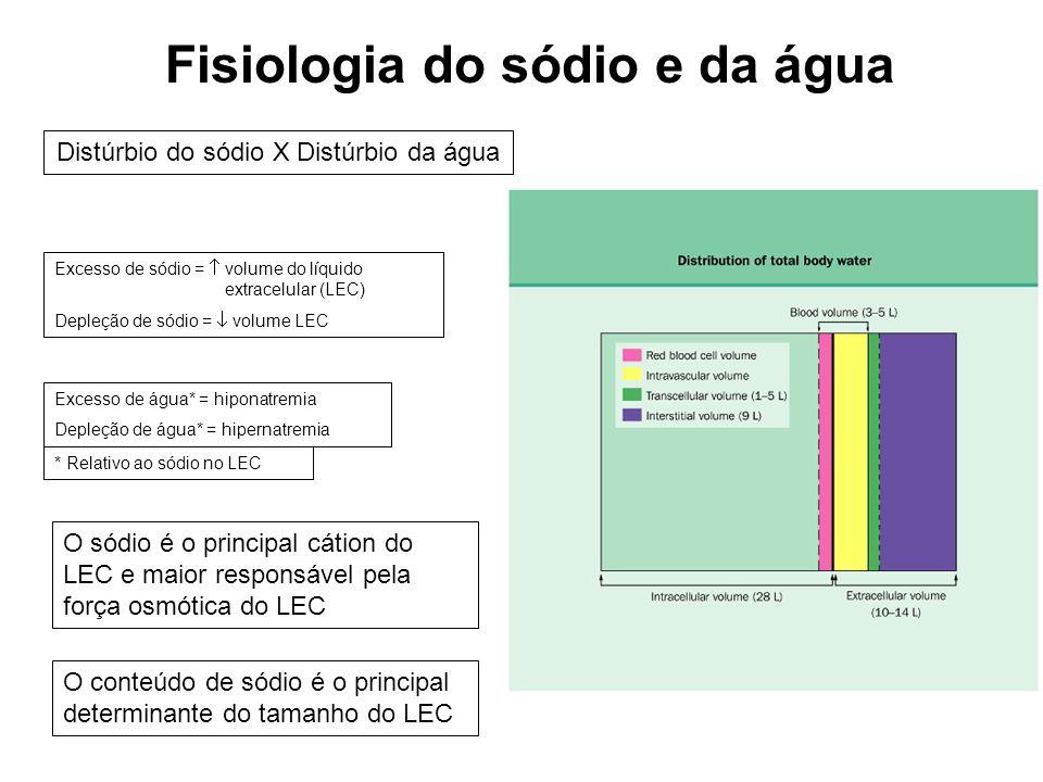 Fisiologia do sódio e da água Distúrbio do sódio X Distúrbio da água Excesso de sódio = volume do líquido extracelular (LEC) Depleção de sódio = volum