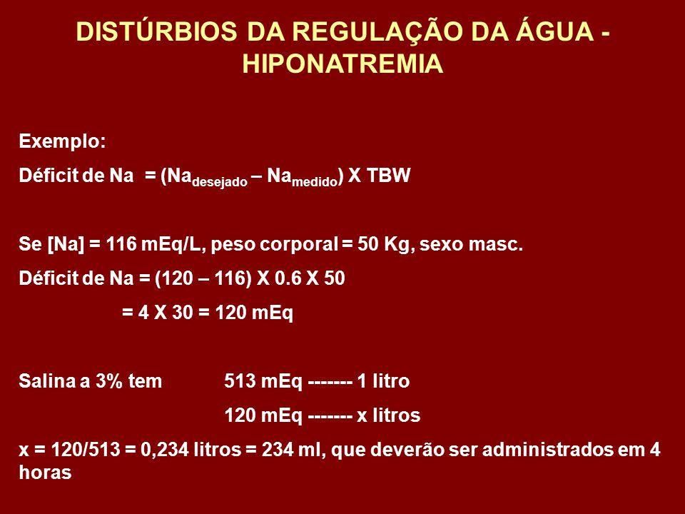 Exemplo: Déficit de Na = (Na desejado – Na medido ) X TBW Se [Na] = 116 mEq/L, peso corporal = 50 Kg, sexo masc. Déficit de Na = (120 – 116) X 0.6 X 5