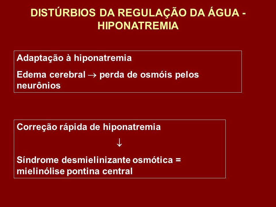 Adaptação à hiponatremia Edema cerebral perda de osmóis pelos neurônios Correção rápida de hiponatremia Síndrome desmielinizante osmótica = mielinólis