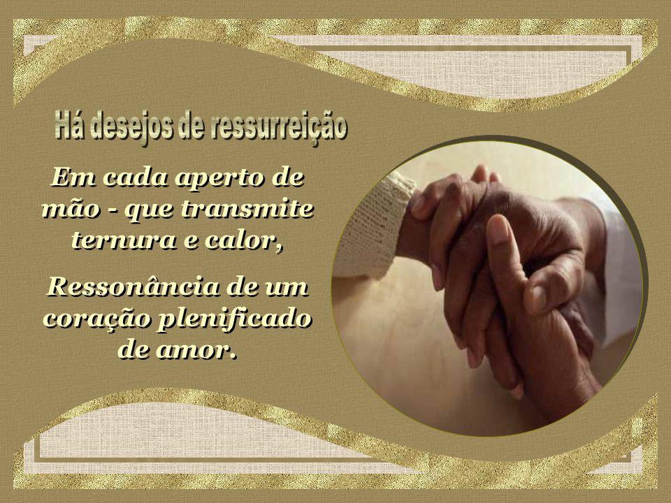Em cada aperto de mão - que transmite ternura e calor, Ressonância de um coração plenificado de amor.