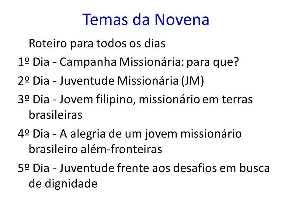 Temas da Novena Roteiro para todos os dias 1º Dia - Campanha Missionária: para que? 2º Dia - Juventude Missionária (JM) 3º Dia - Jovem filipino, missi