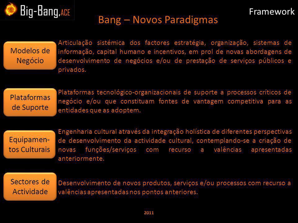 Bang – Novos Paradigmas Framework Plataformas tecnológico-organizacionais de suporte a processos críticos de negócio e/ou que constituam fontes de vantagem competitiva para as entidades que as adoptem.