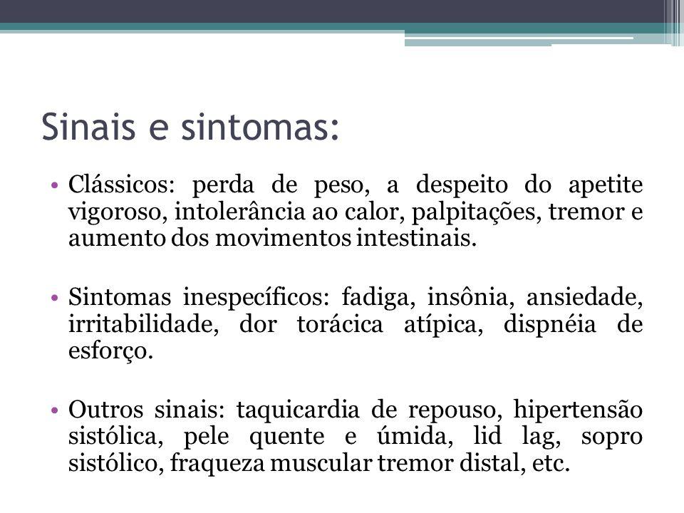 Sinais e sintomas: Clássicos: perda de peso, a despeito do apetite vigoroso, intolerância ao calor, palpitações, tremor e aumento dos movimentos intes