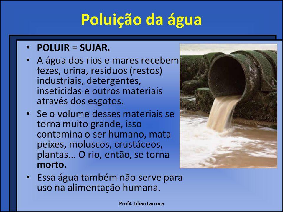 Poluição por esgoto O esgoto produzido pelas pessoas é lançado na água dos lagos, rios e mares, sem qualquer tratamento prévio (anterior).