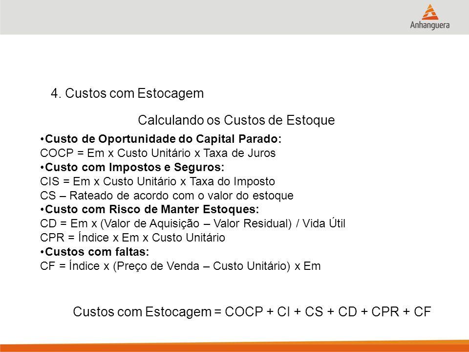 4. Custos com Estocagem Calculando os Custos de Estoque Custo de Oportunidade do Capital Parado: COCP = Em x Custo Unitário x Taxa de Juros Custo com