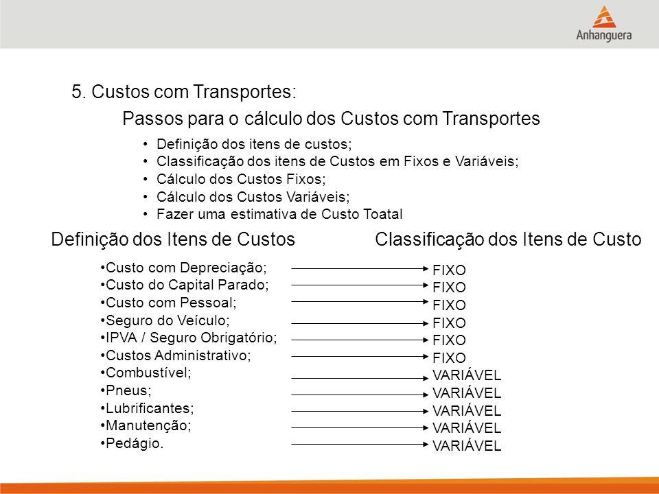 5. Custos com Transportes: Passos para o cálculo dos Custos com Transportes Definição dos itens de custos; Classificação dos itens de Custos em Fixos