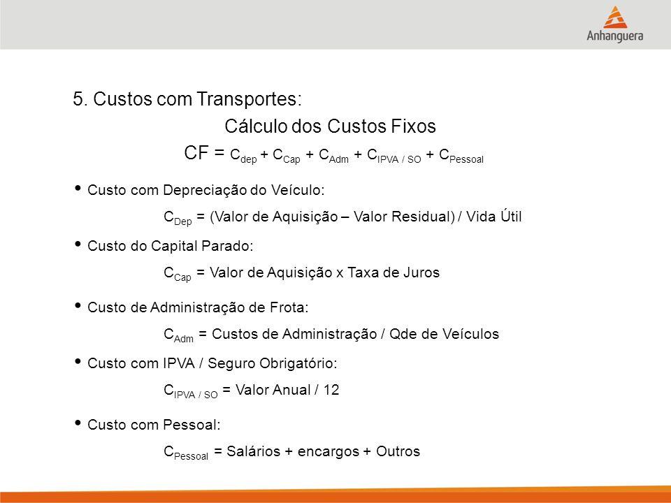 5. Custos com Transportes: Cálculo dos Custos Fixos C Dep = (Valor de Aquisição – Valor Residual) / Vida Útil C Cap = Valor de Aquisição x Taxa de Jur