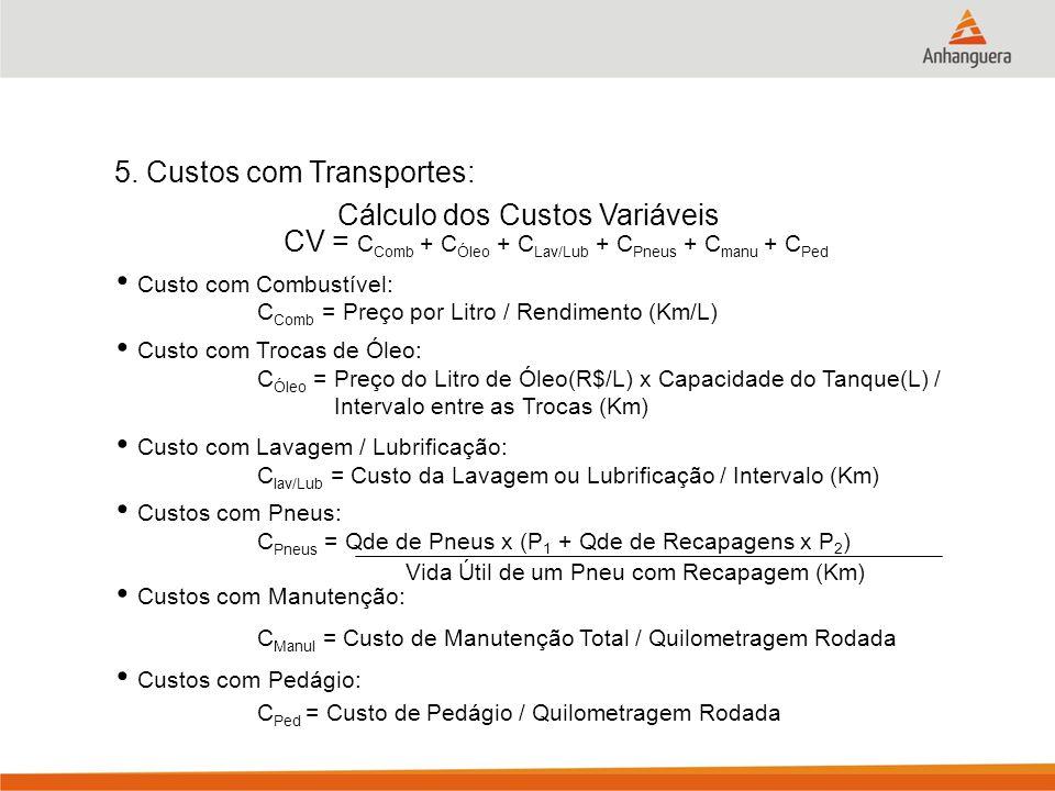 5. Custos com Transportes: Cálculo dos Custos Variáveis C Comb = Preço por Litro / Rendimento (Km/L) C Óleo = Preço do Litro de Óleo(R$/L) x Capacidad
