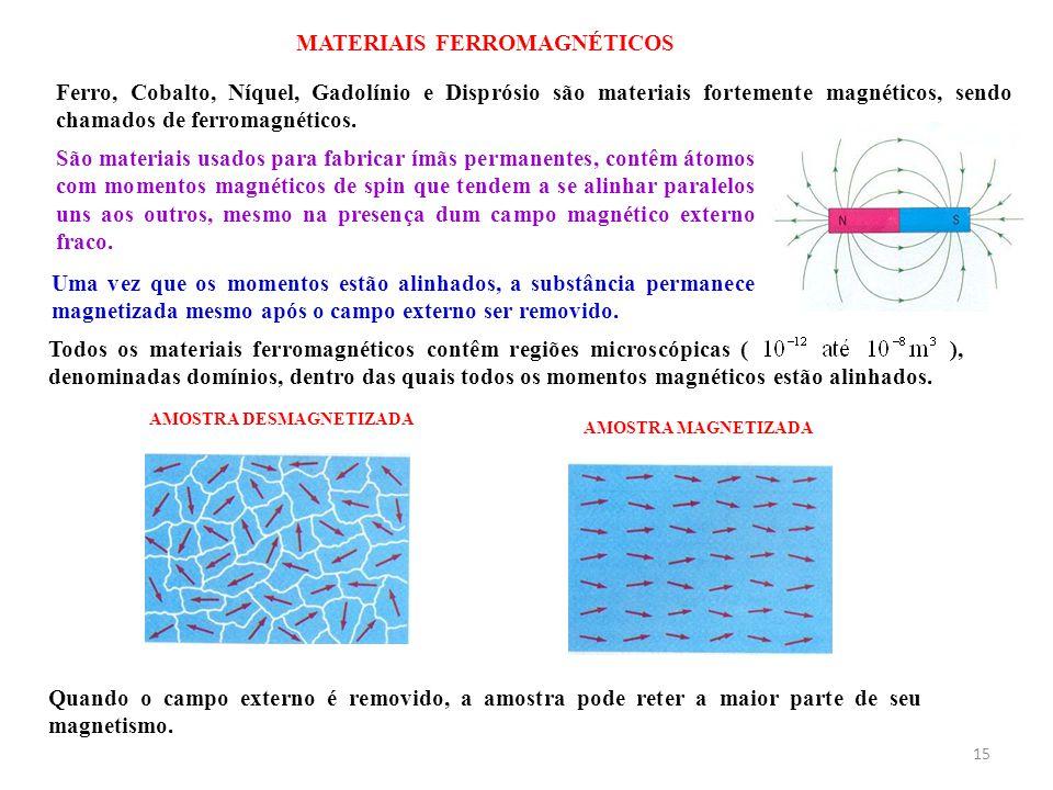 15 MATERIAIS FERROMAGNÉTICOS Ferro, Cobalto, Níquel, Gadolínio e Disprósio são materiais fortemente magnéticos, sendo chamados de ferromagnéticos. São