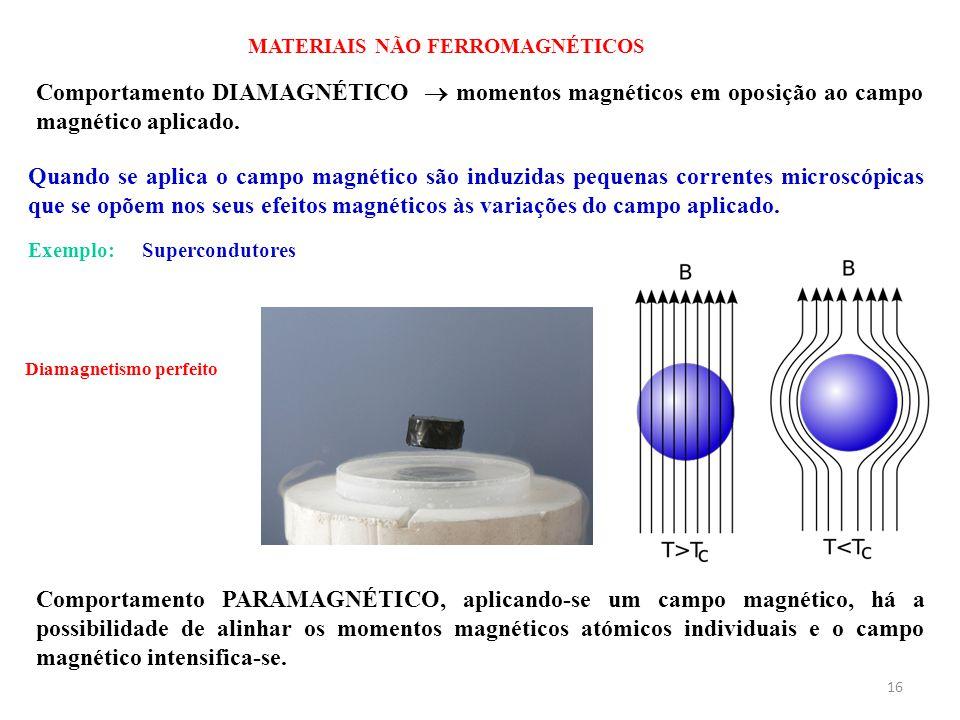 16 MATERIAIS NÃO FERROMAGNÉTICOS Quando se aplica o campo magnético são induzidas pequenas correntes microscópicas que se opõem nos seus efeitos magnéticos às variações do campo aplicado.