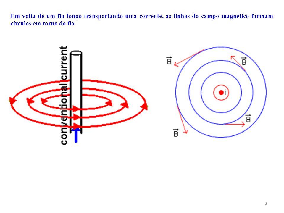 3 Em volta de um fio longo transportando uma corrente, as linhas do campo magnético formam círculos em torno do fio.