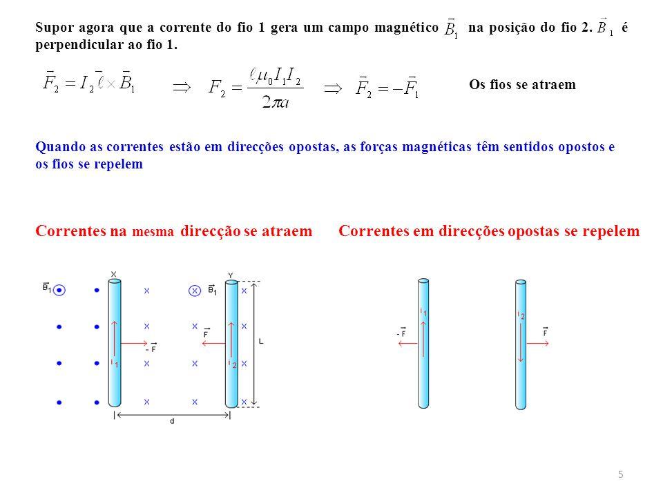 5 Supor agora que a corrente do fio 1 gera um campo magnético na posição do fio 2. é perpendicular ao fio 1. Os fios se atraem Correntes em direcções