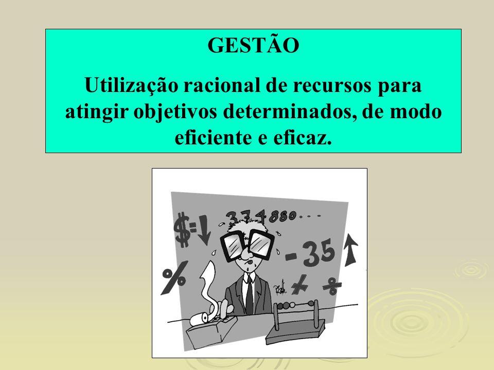 GESTÃO Utilização racional de recursos para atingir objetivos determinados, de modo eficiente e eficaz.