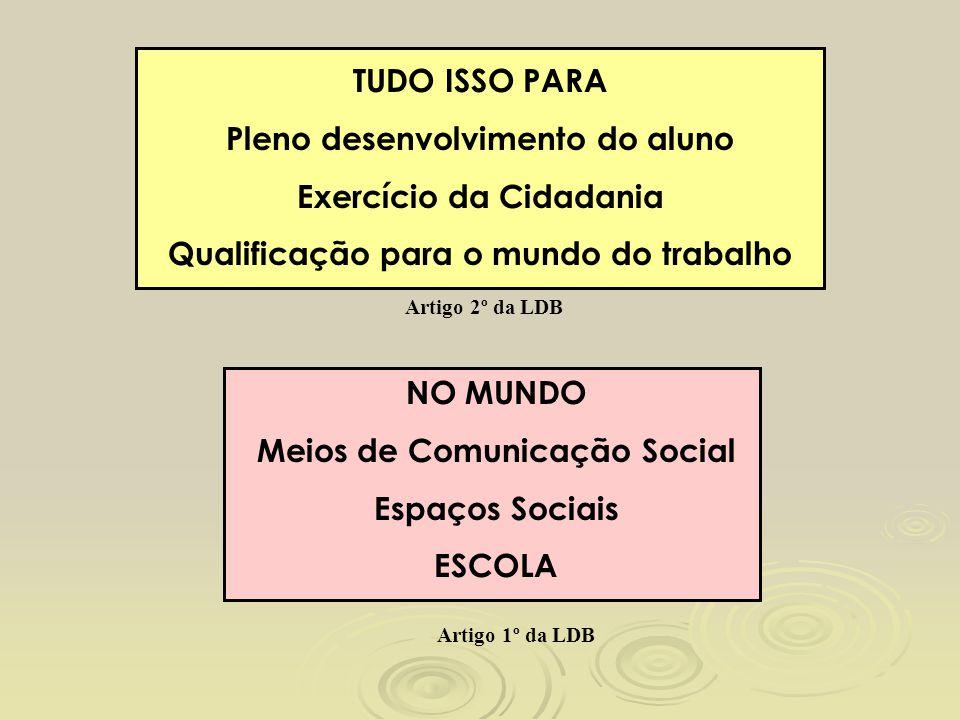 TUDO ISSO PARA Pleno desenvolvimento do aluno Exercício da Cidadania Qualificação para o mundo do trabalho Artigo 2º da LDB NO MUNDO Meios de Comunica