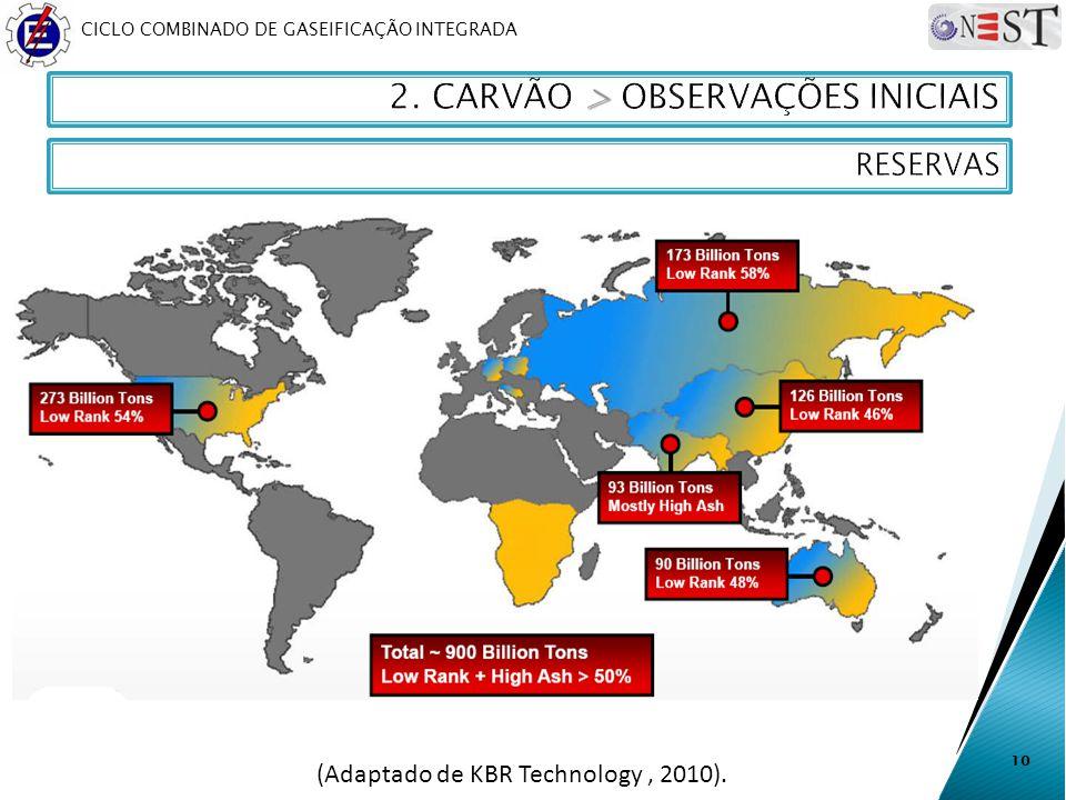 CICLO COMBINADO DE GASEIFICAÇÃO INTEGRADA 10 (Adaptado de KBR Technology, 2010).