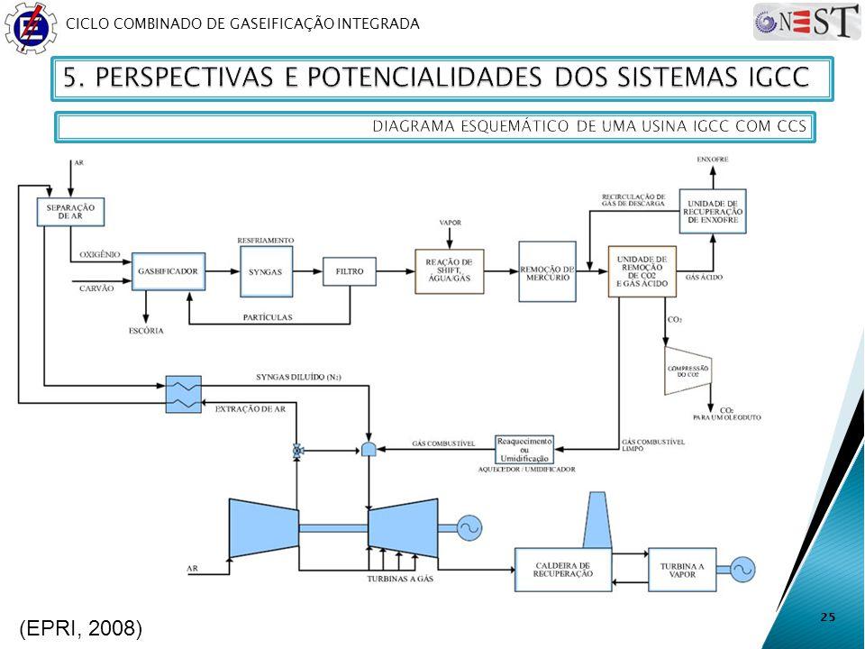 CICLO COMBINADO DE GASEIFICAÇÃO INTEGRADA 25 (EPRI, 2008)