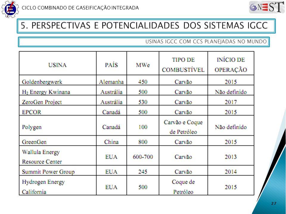 CICLO COMBINADO DE GASEIFICAÇÃO INTEGRADA 27